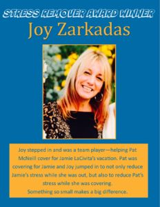Award Winner - Joy Zarkadas May 2016 with SRA Logo