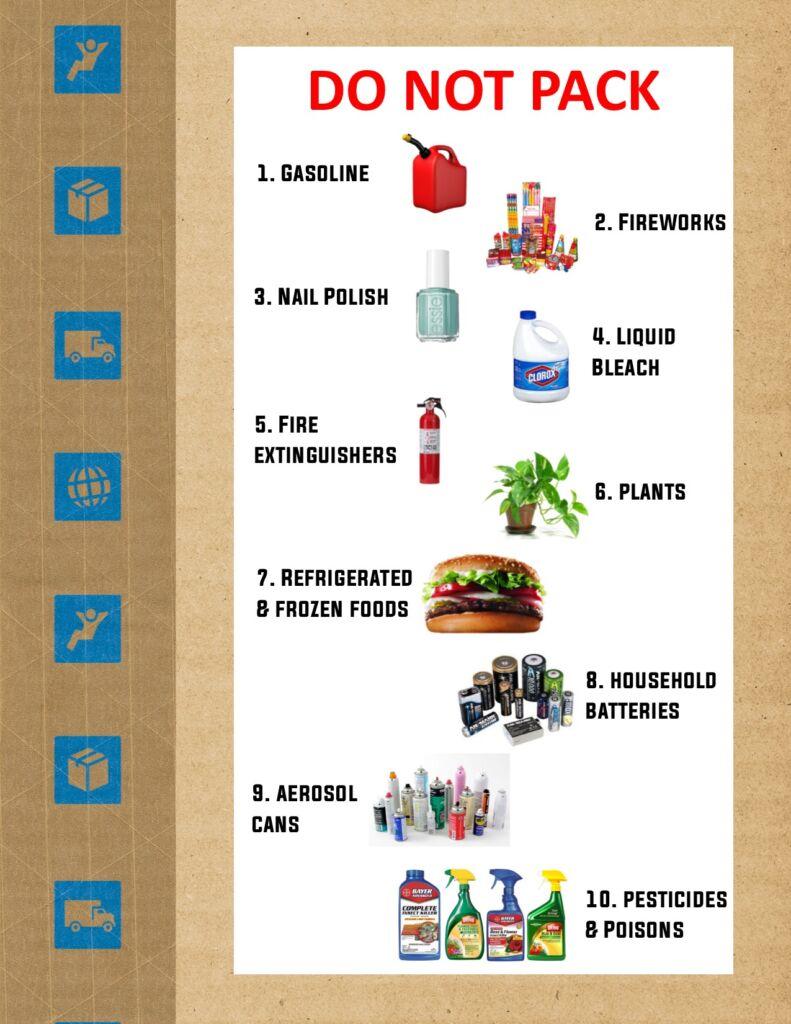 Do not pack list