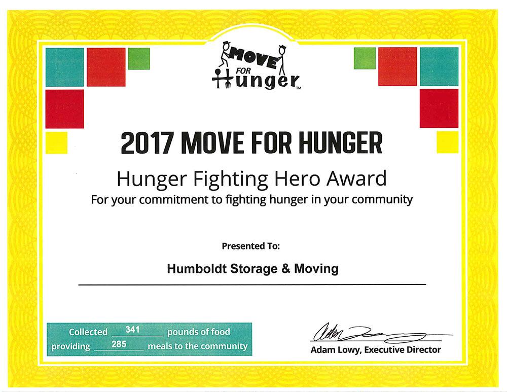 Move for hunger award
