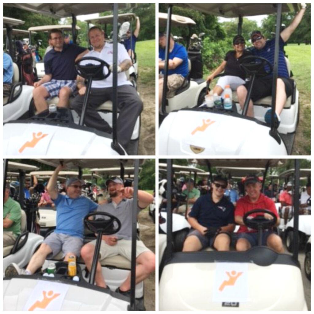 Sitting in golf carts