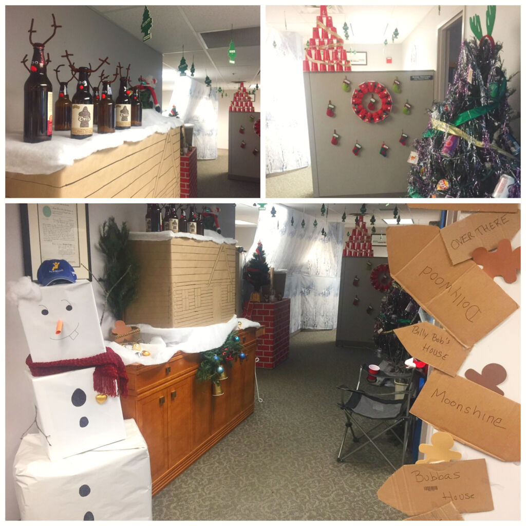 Office decorated for Christmas