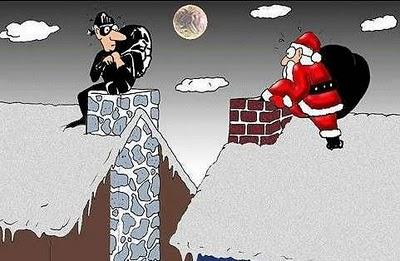 Santa going down chimney