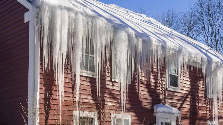 Icicles hanging off gutter