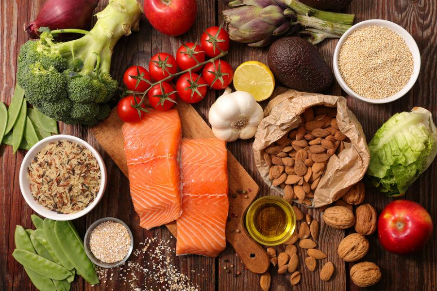 Food on cutting board